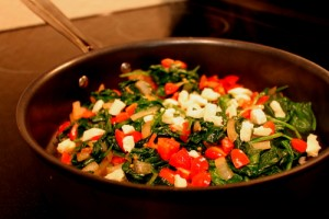 sauteed spinSauteed Spinach Saladach with caramelized onions, tomatoes, and feta