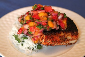 Blackened Mahi with Strawberry Mango Salsa