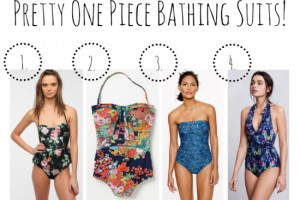 Floral Print One Piece Bathing Suits