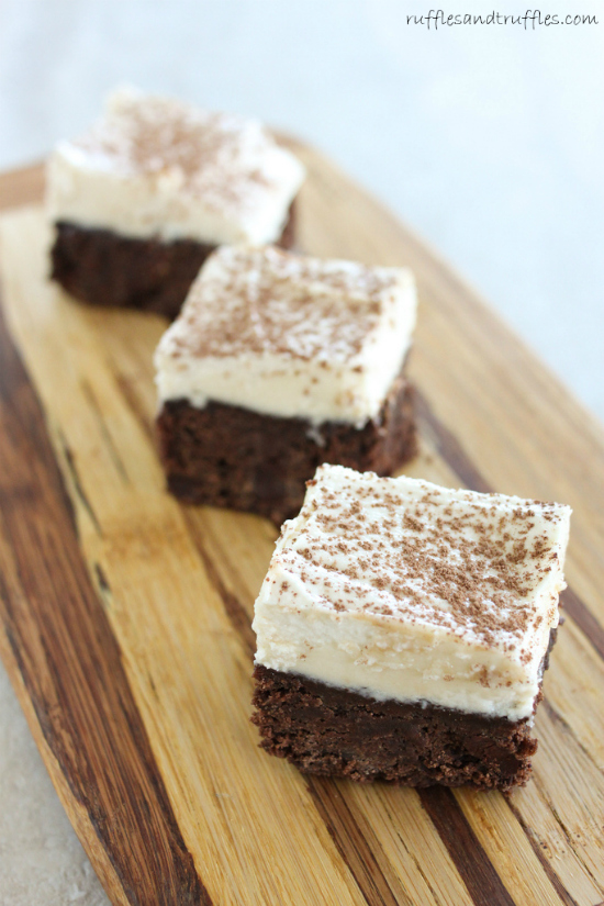 fudgy chocolate brownies with white chocolate kahlua buttercream