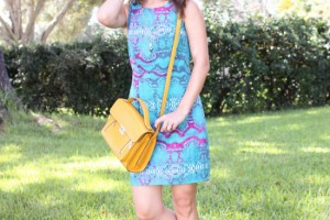 turquoise print dress