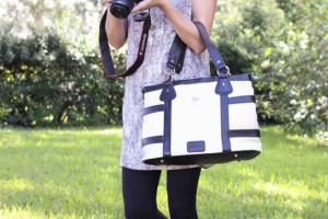 Dre Hartmann camera bag outfit