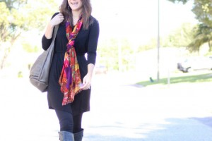 black tunic and scarf outfit