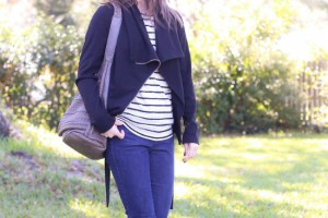 scalloped trim tee shirt outfit