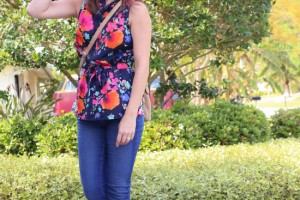 floral tank and jeans outift