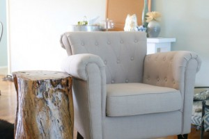 tree stump table and tufted chair