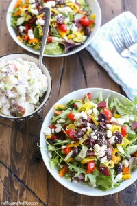 Greek salad with potato salad