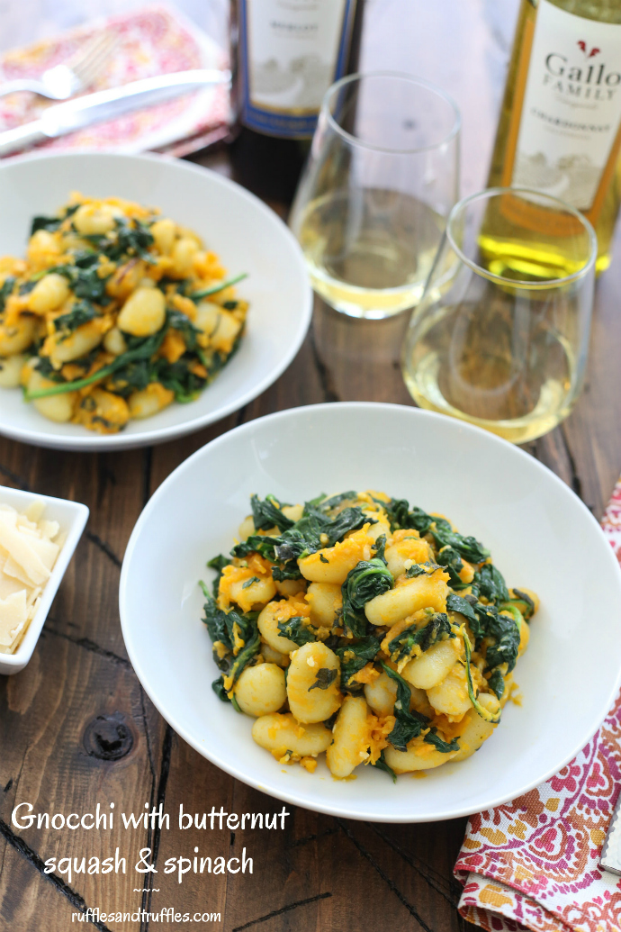 Gnocchi with butternut squash and spinach recipe