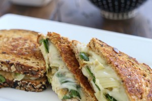 Grilled Cheese with Caramelized Onions, Spinach, and Artichokes