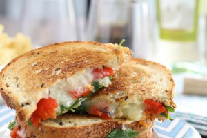 Grilled Cheese with Spinach and Roasted Red Peppers