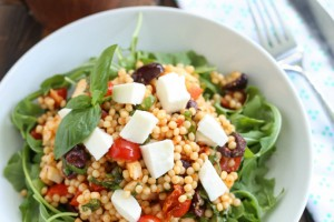Mozzarella, Tomato, and Basil Couscous Salad with Arugula