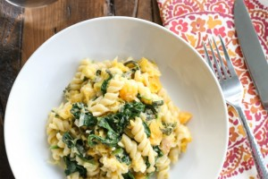 Pumpkin Spiced Pasta with Butternut Squash and Spinach