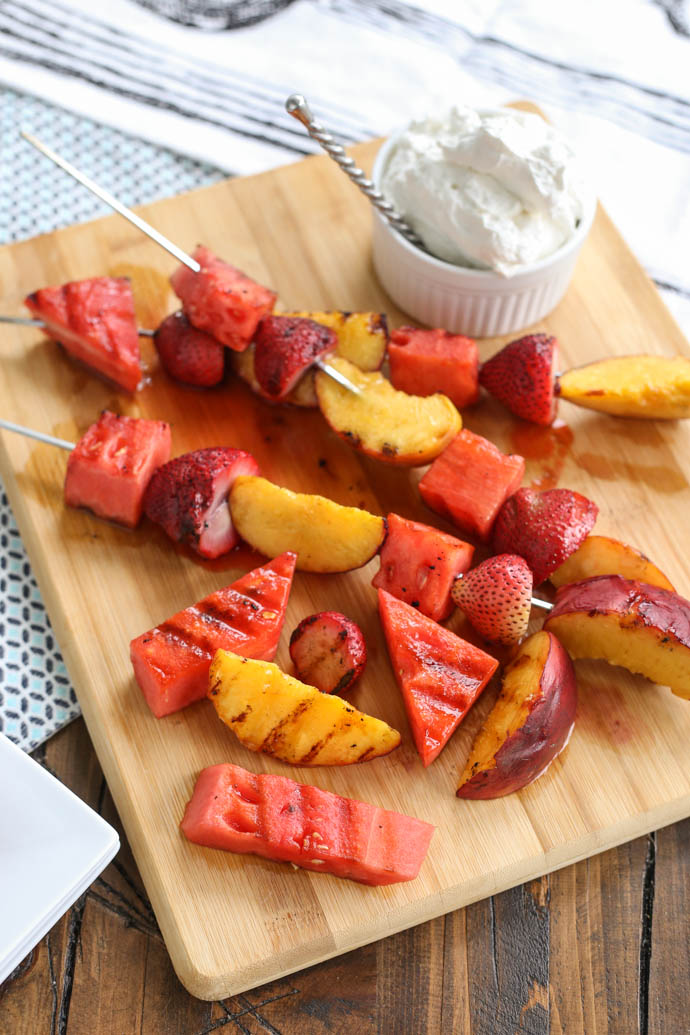 Grilled Fruit Kabobs with fresh whipped cream