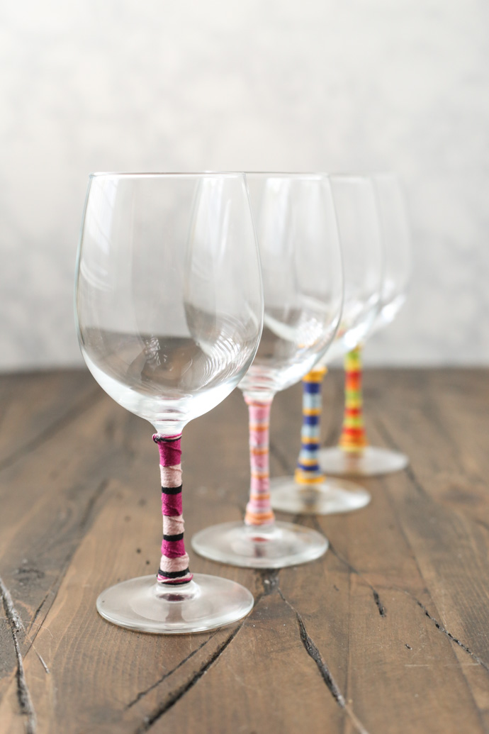 Friendship Bracelet Wine Glasses