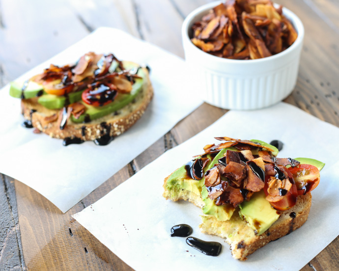 Avocado Toast with Coconut Bacon