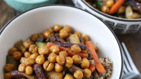 Glazed Carrot and Quinoa Salad with Crispy Chickpeas for #SundaySupper