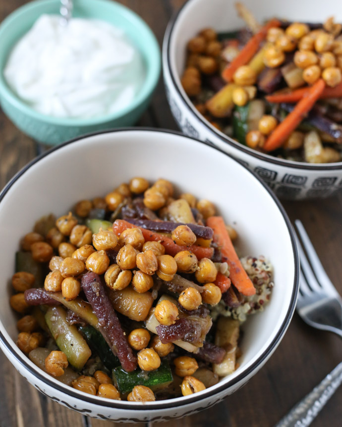 Glazed Carrot and Quinoa Salad with Crispy Chickpeas