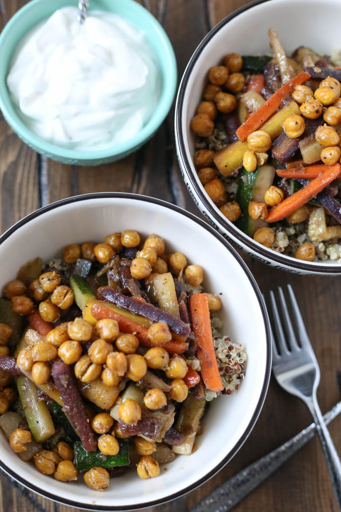 Glazed Carrot and Quinoa Salad with Crispy Chickpeas for #SundaySupper ...
