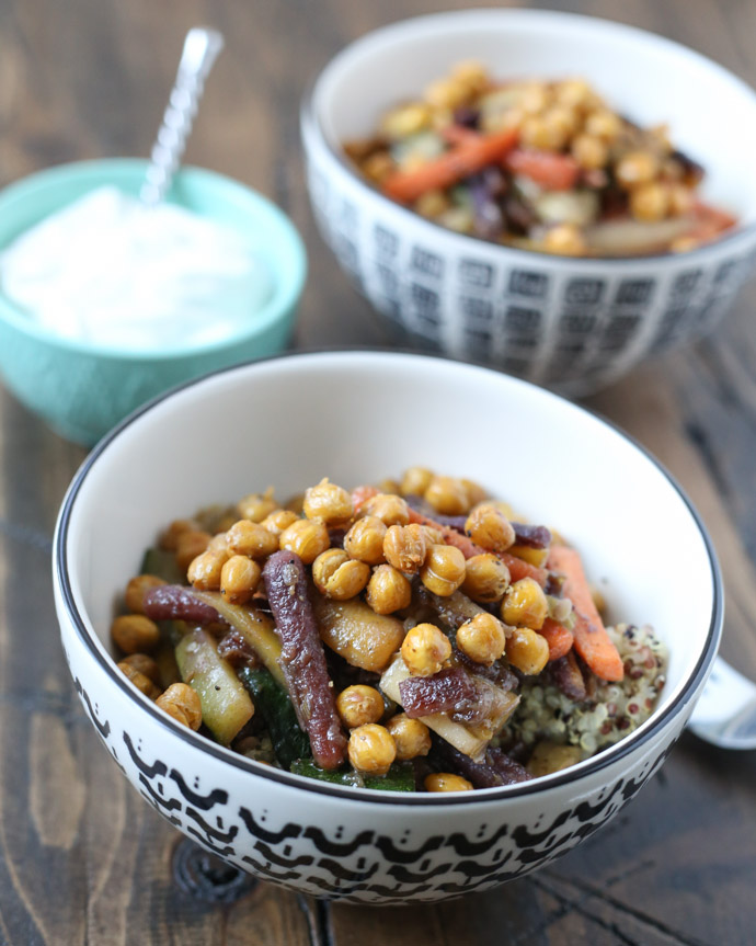Glazed Carrot and Quinoa Salad with Crispy Chickpeas