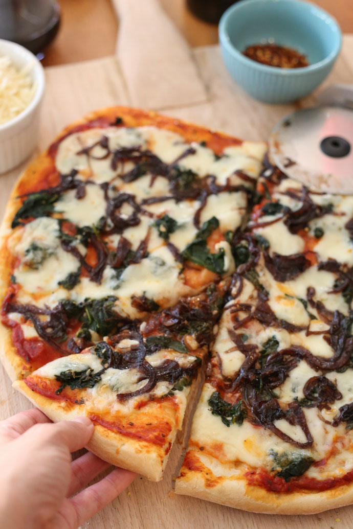 Roasted Garlic and Spinach Pizza with Balsamic Onions