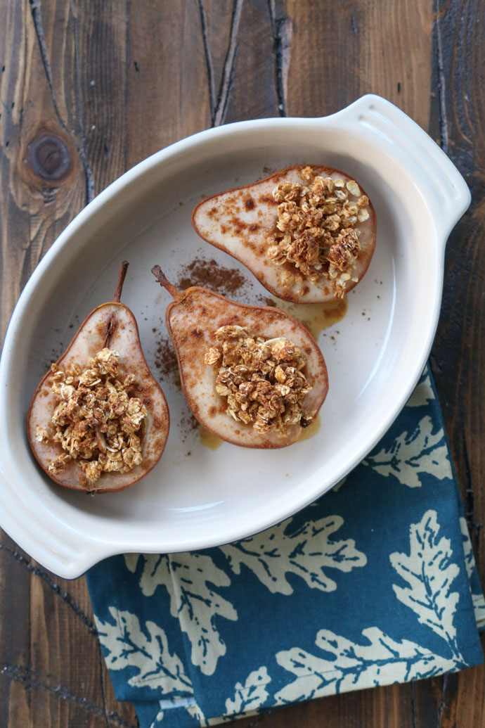 Baked Pears with Granola and Fresh Whipped Cream
