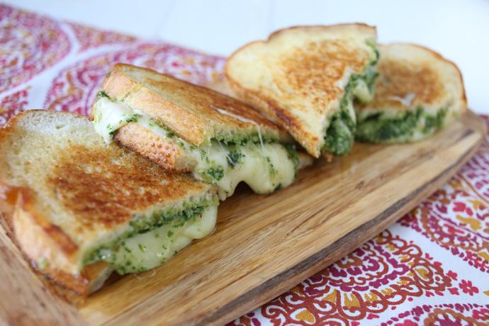 Arugula Basil Pesto Grilled Cheese