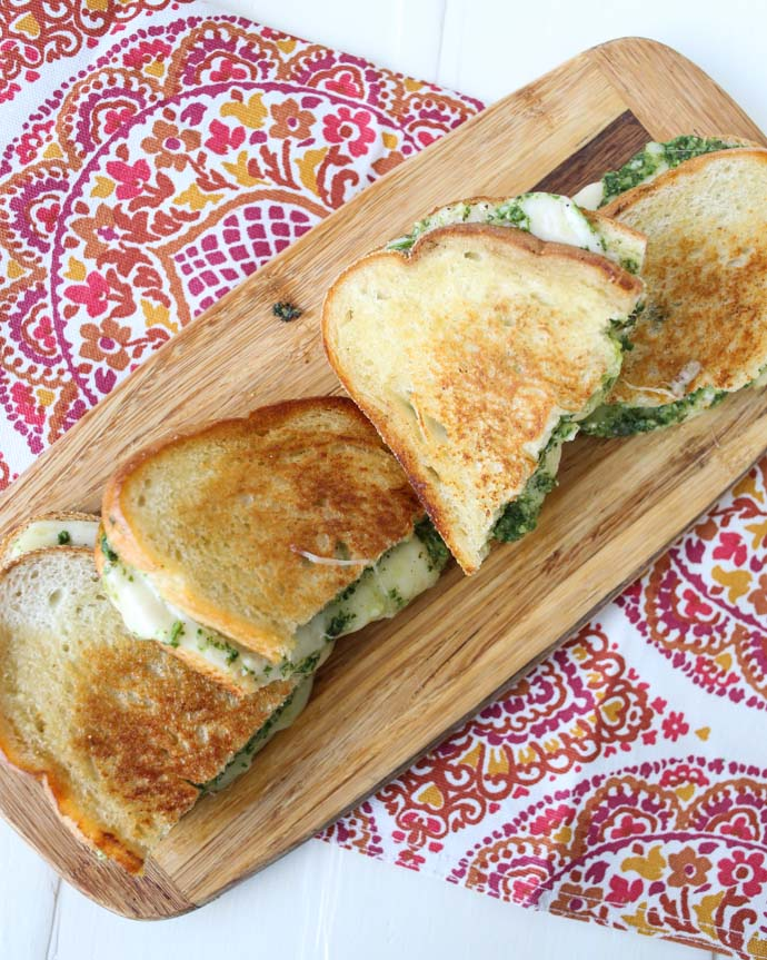 Arugula Basil Pesto Grilled Cheese