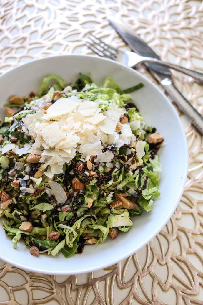Brussels Sprouts Salad with Lemon Shallot Vinaigrette