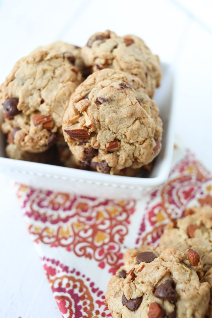 Toasted Almond Oatmeal Chocolate Chip Cookies