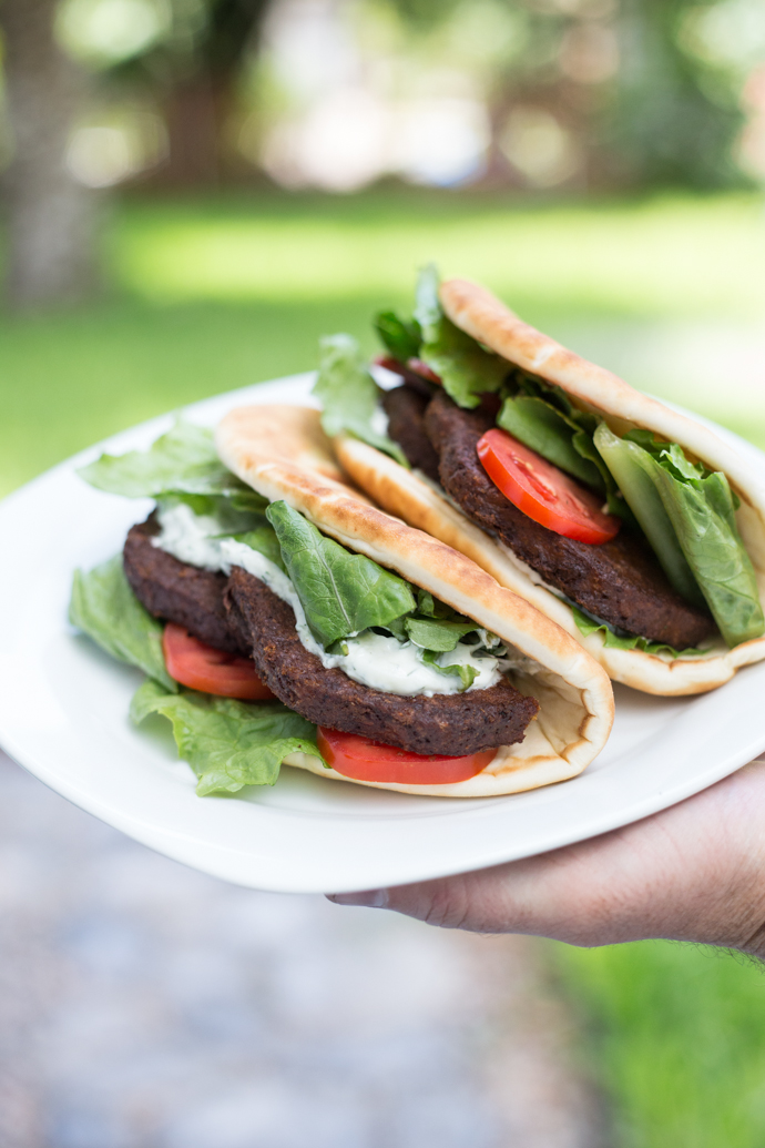 Greek inspired veggie burger pita sandwiches