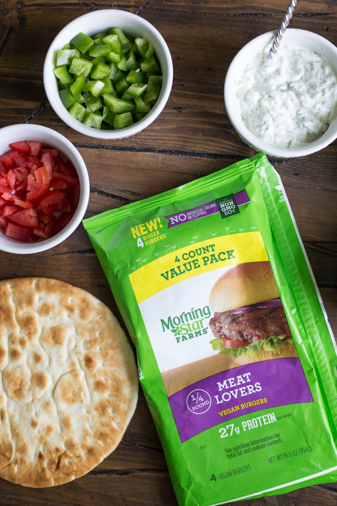 Greek inspired veggie burger pita sandwiches