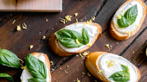 Whipped Ricotta Toasts with Lemon and Basil