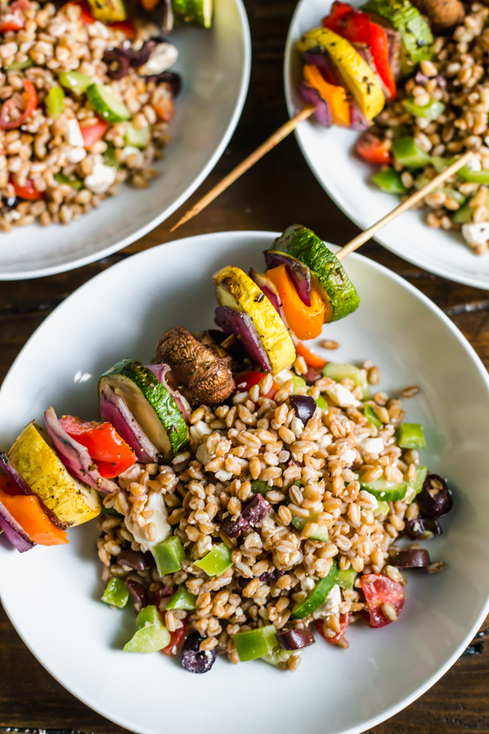 Farro Pasta Salad with Grilled Vegetable Skewers