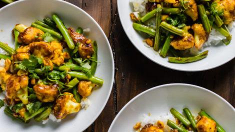 spiced cauliflower and green beans