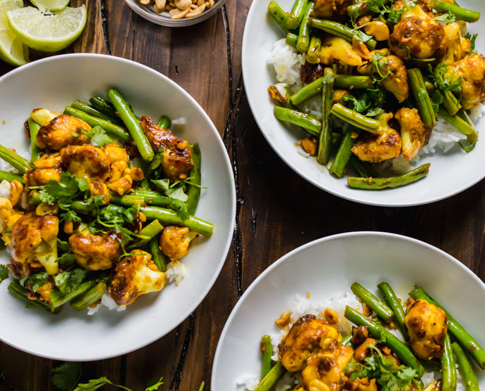 spiced cauliflower and green beans
