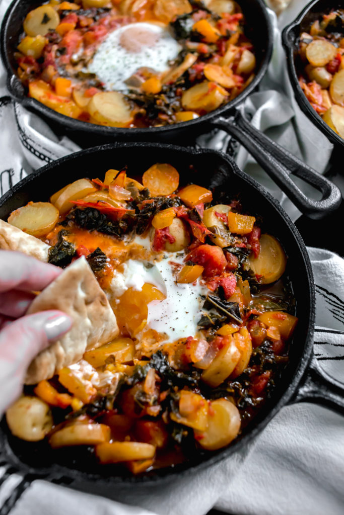 Kale and Potato Shakshuka with San Marzano Style Tomatoes